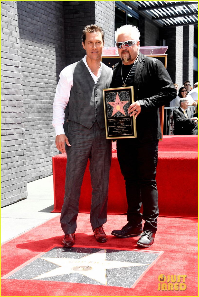 matthew mcconaughey helps present guy fieri with star on hollywood walk of fame 16
