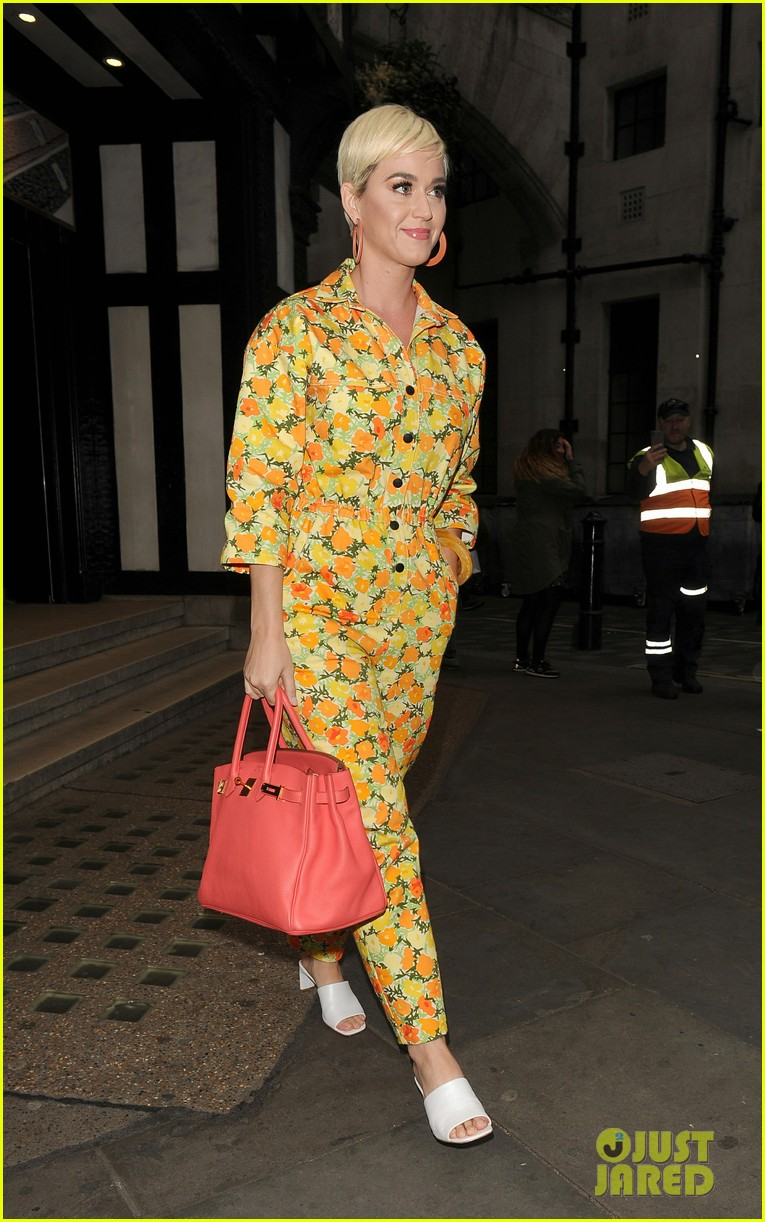 katy perry colorful floral jumpsuit day out in london 01