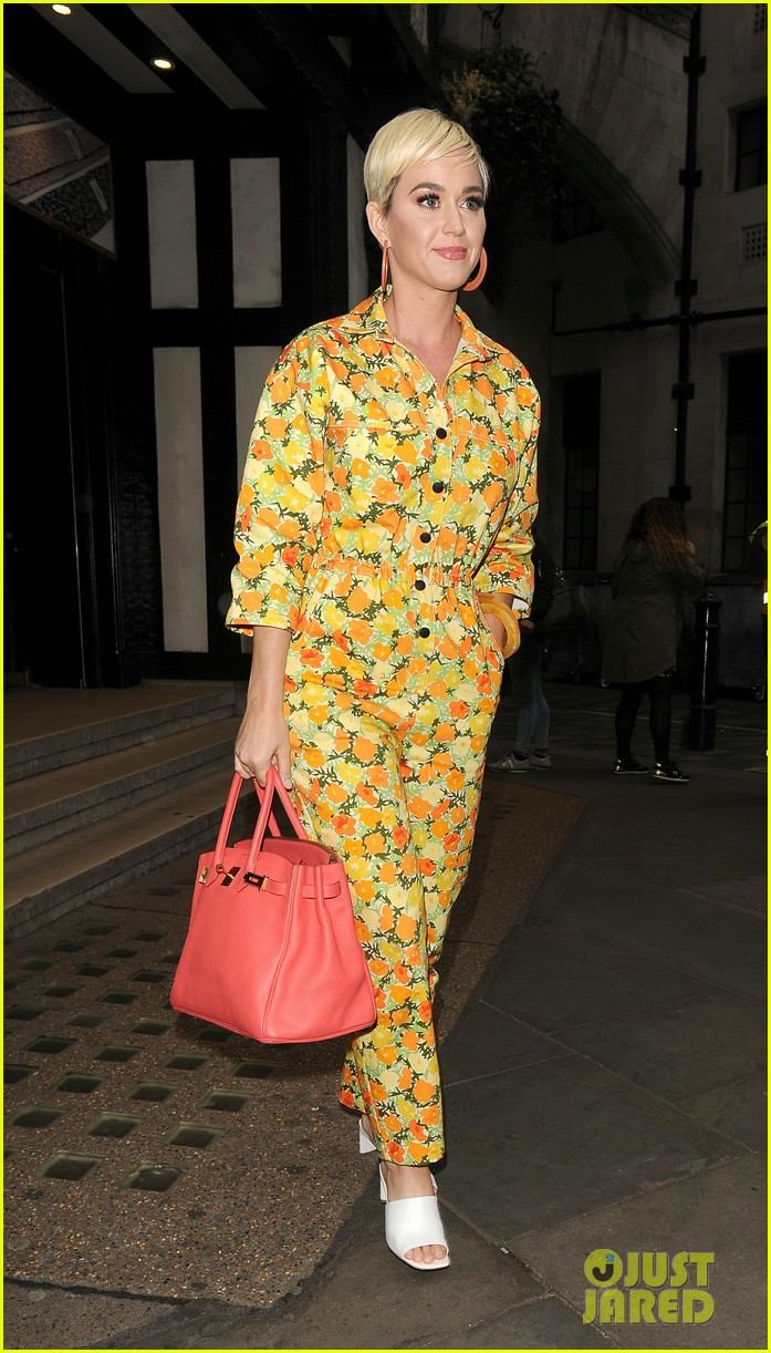 katy perry colorful floral jumpsuit day out in london 07