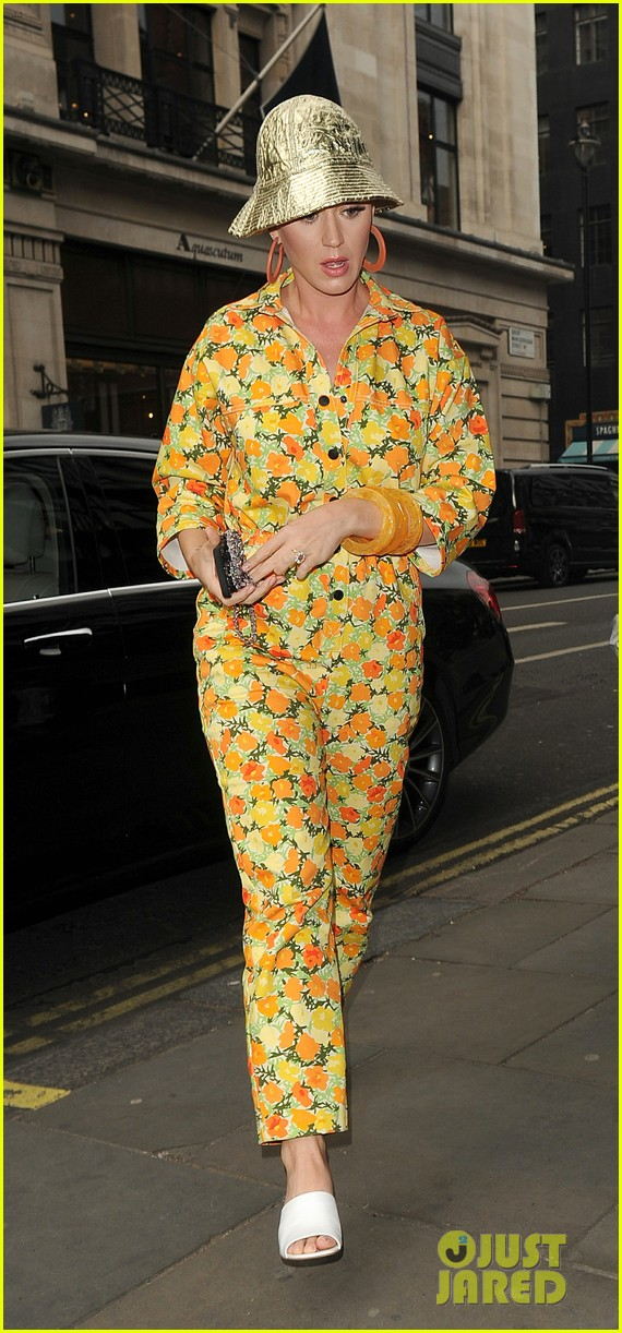 katy perry colorful floral jumpsuit day out in london 09