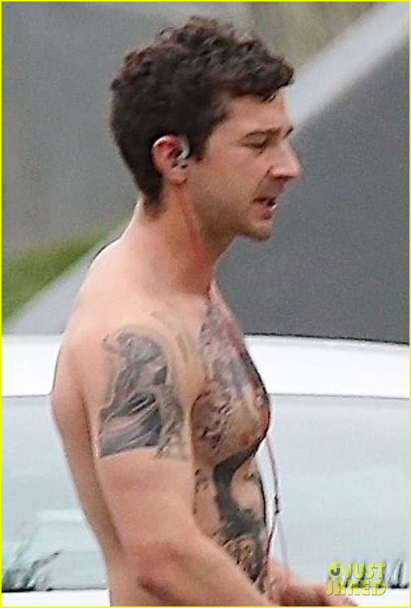 shia labeouf bares ripped tattooed torso going shirtless in his underwear 024288805