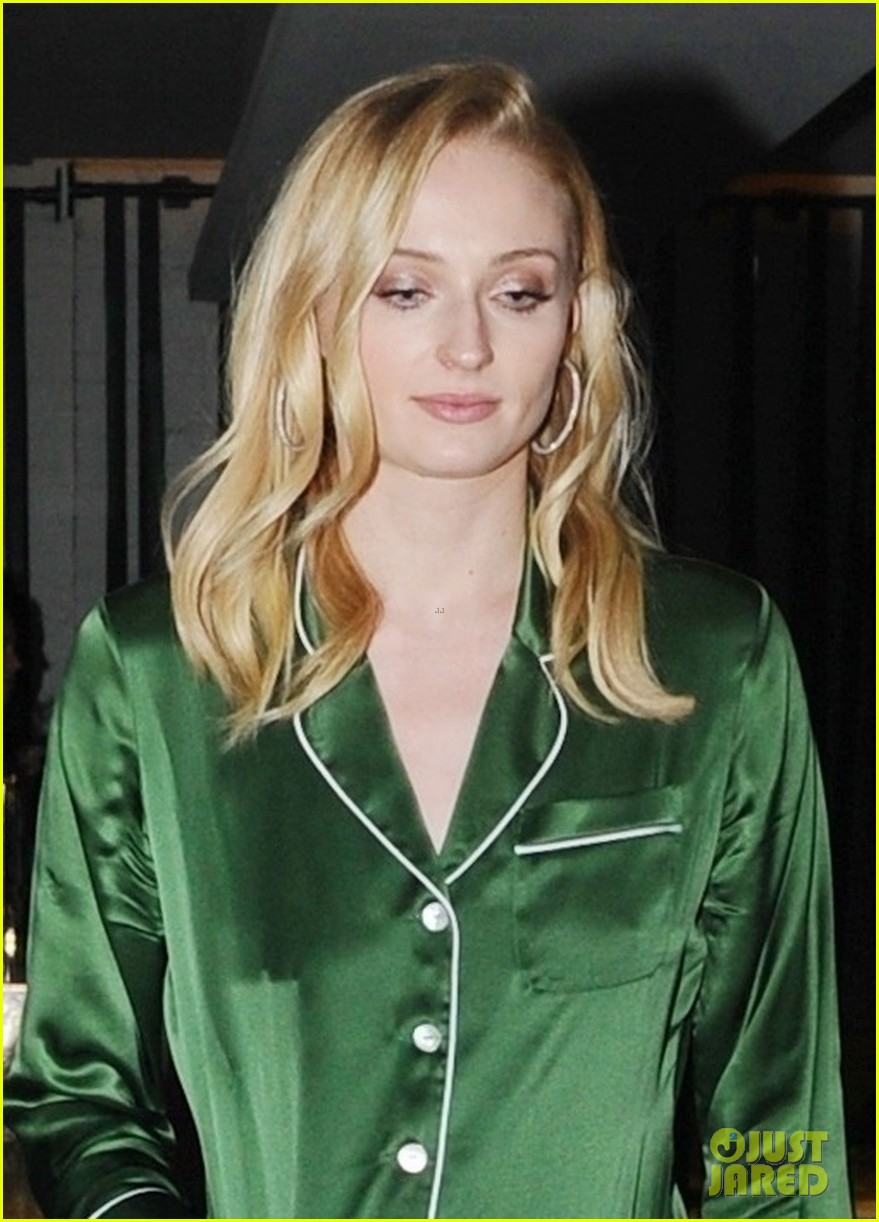 sophie turner has a girls day in silk pjs 01