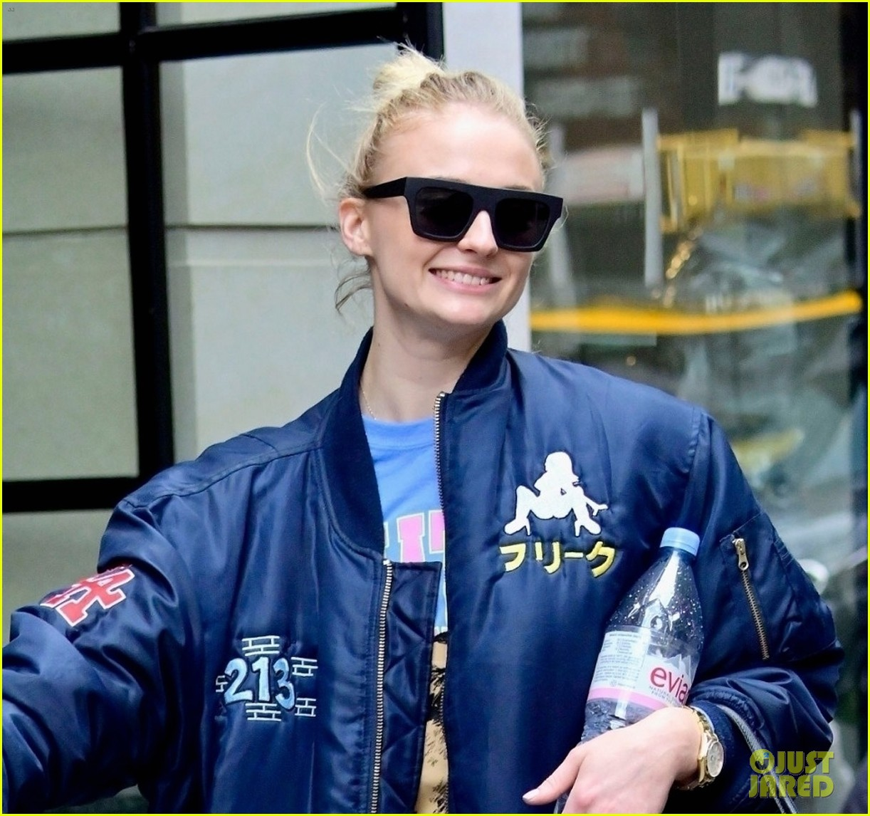 sophie turner does a kick while out with joe jonas in nyc 04