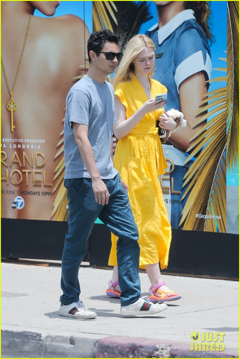 elle fanning holds hands max minghella shopping 194310280