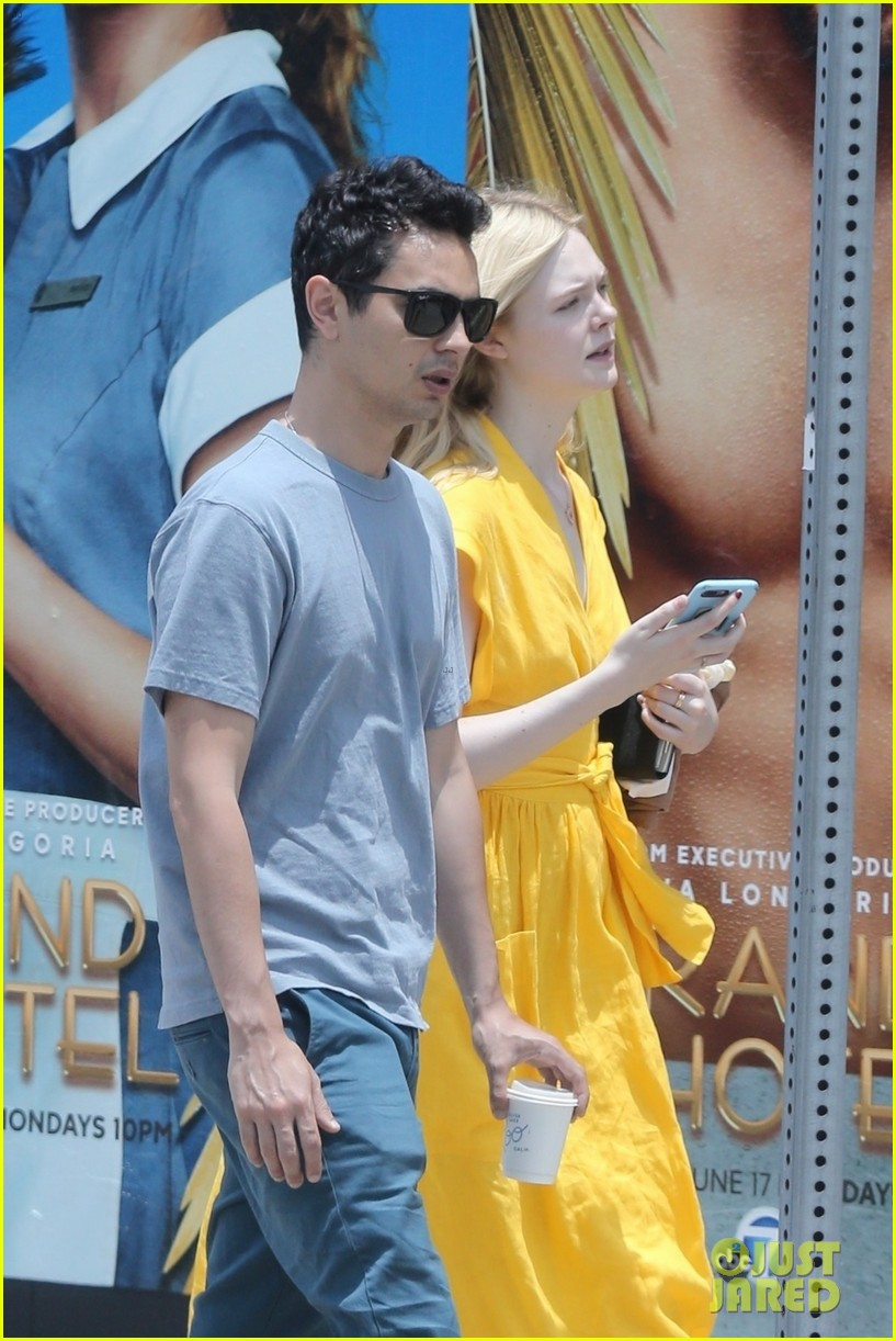 elle fanning holds hands max minghella shopping 214310282