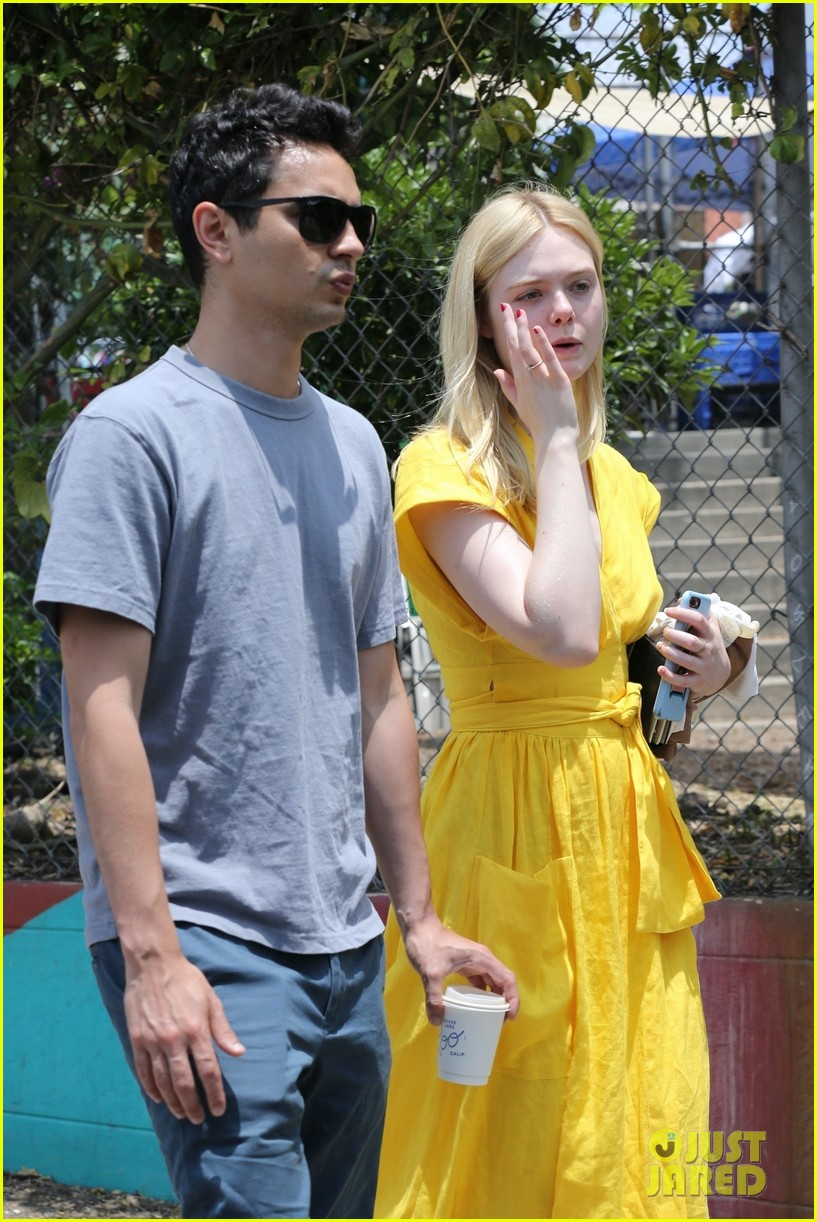 elle fanning holds hands max minghella shopping 314310292