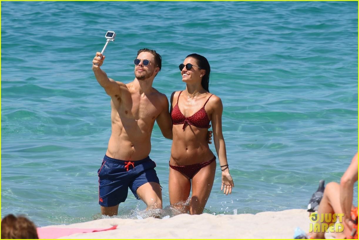 shirtless derek hough hits the beach with girlfriend hayley erbert 03