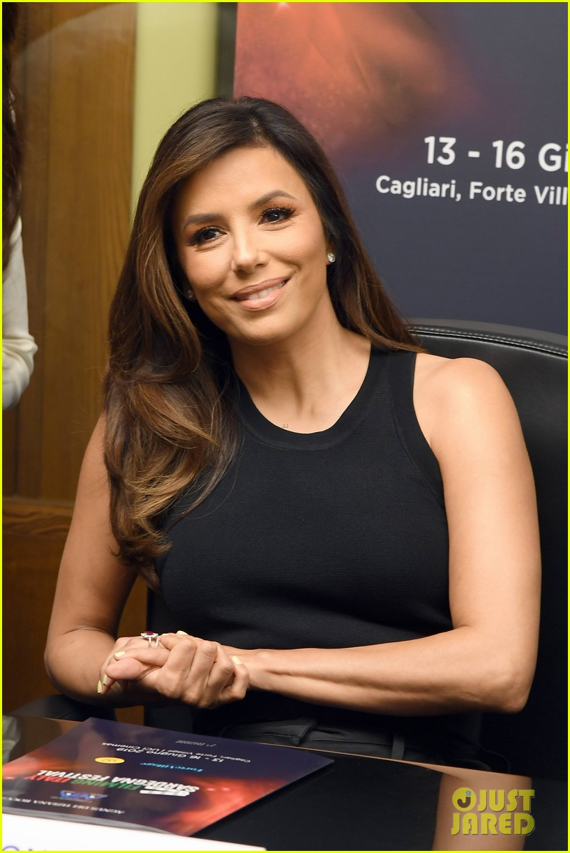 eva longoria dons chic black ensemble at filming italy sardegna festival 174309372
