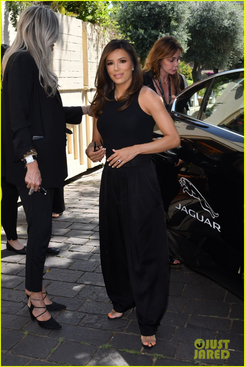 eva longoria dons chic black ensemble at filming italy sardegna festival 244309379