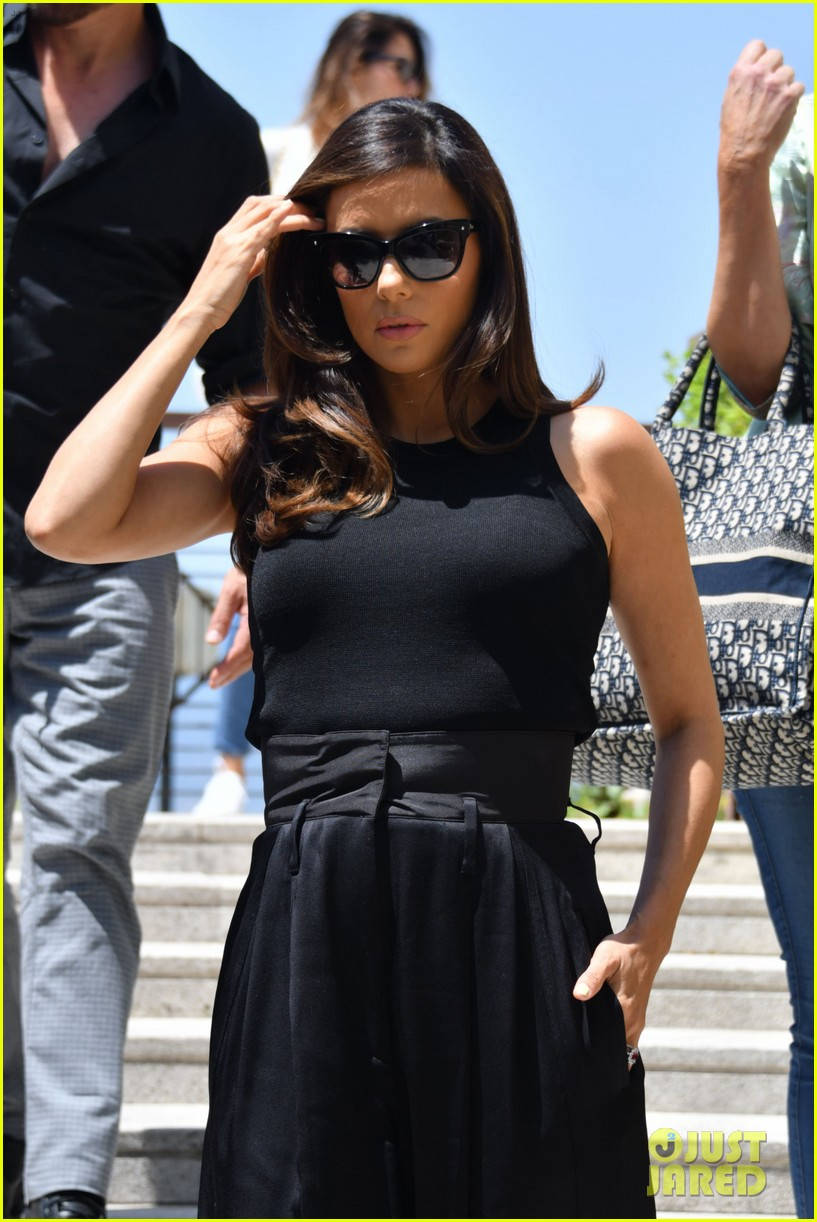 eva longoria dons chic black ensemble at filming italy sardegna festival 354309390
