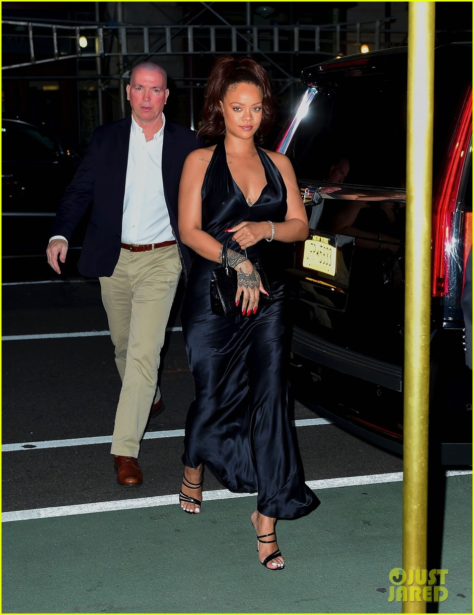rihanna slips into black dress for party in nyc 054308202