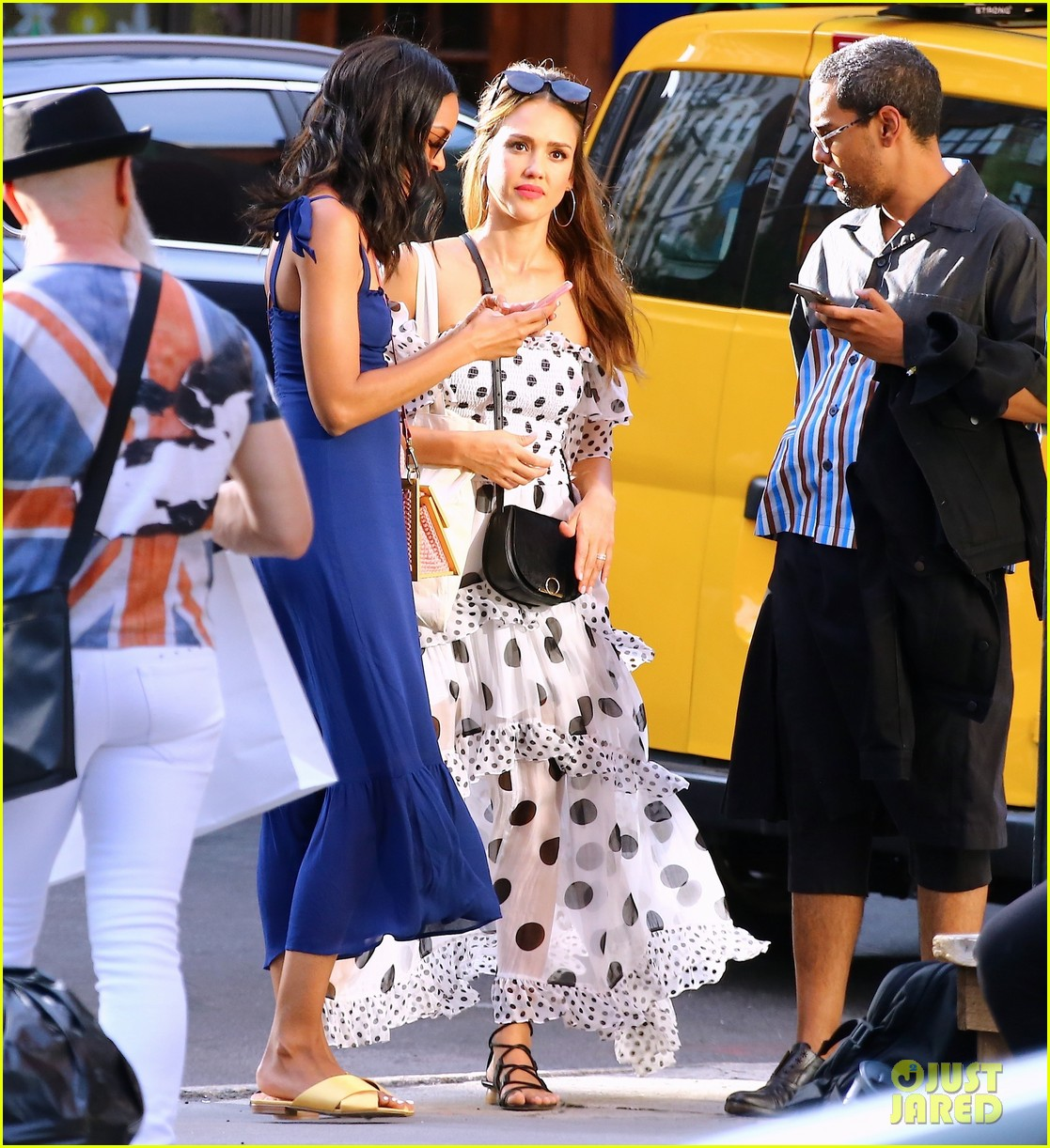 jessica alba stuns in black and white polka dot dress while out in nyc 014322374