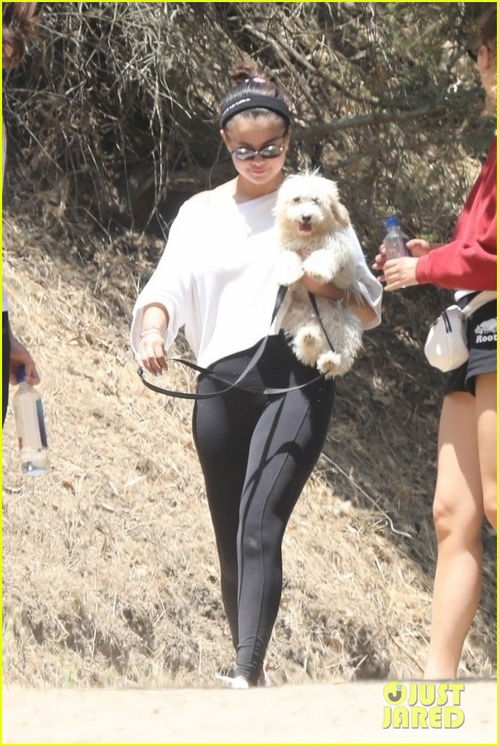 selena gomez goes for a hike with new puppy friends 03