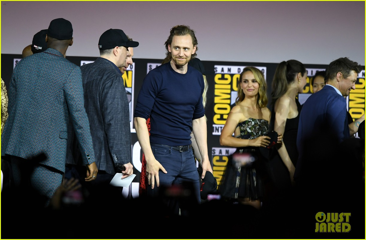 tom hiddleston jeremy renner marvel series at comic con 184324536