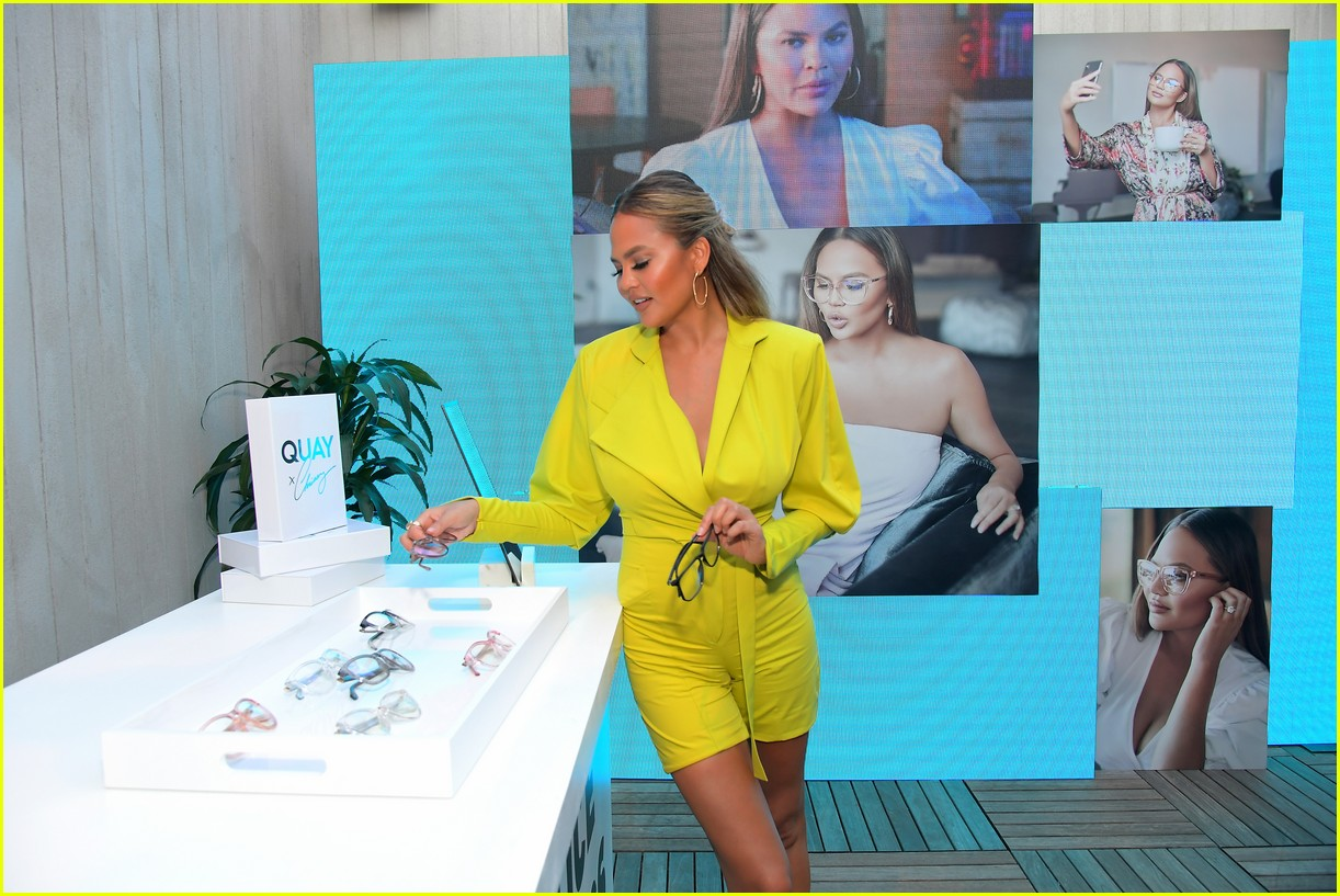chrissy teigen celebrates new quay collection 10