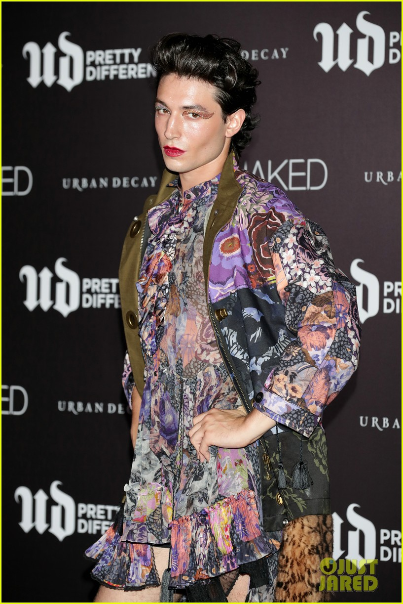 ezra miller rocks mini dress for urban decays pretty different launch 054337654
