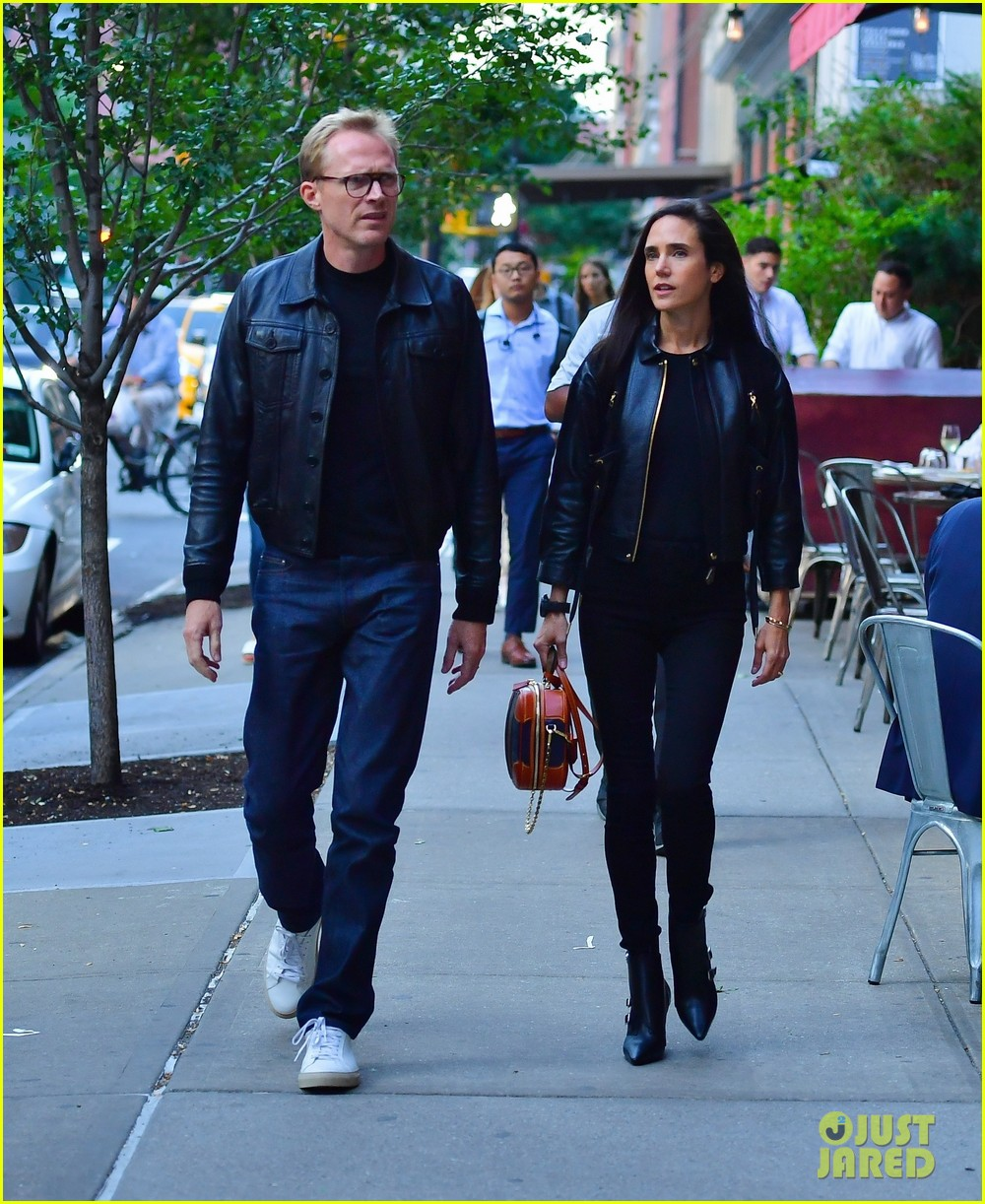 paul bettany jennifer connelly coordinate leather jackets for dinner 034350845