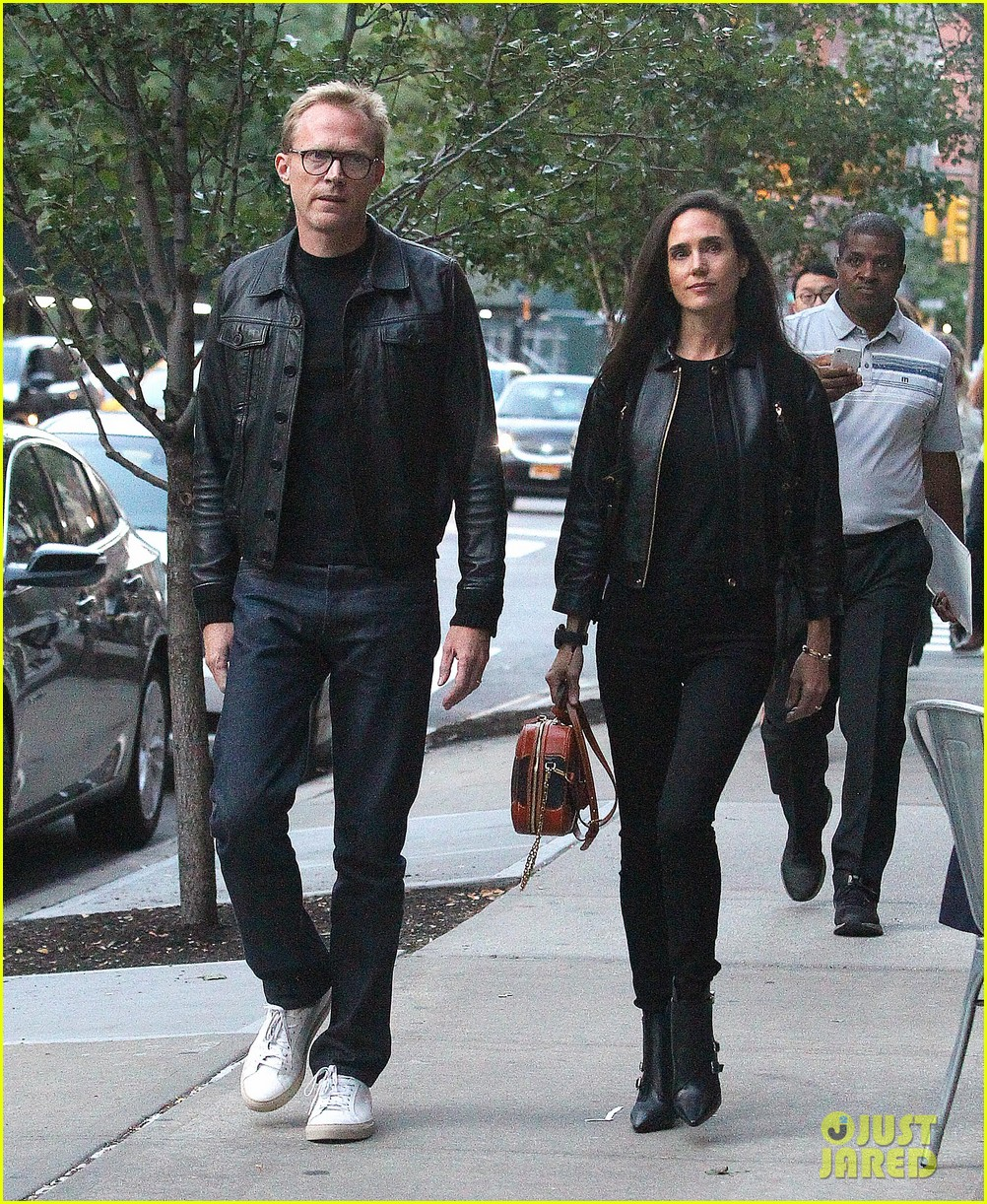paul bettany jennifer connelly coordinate leather jackets for dinner 054350847