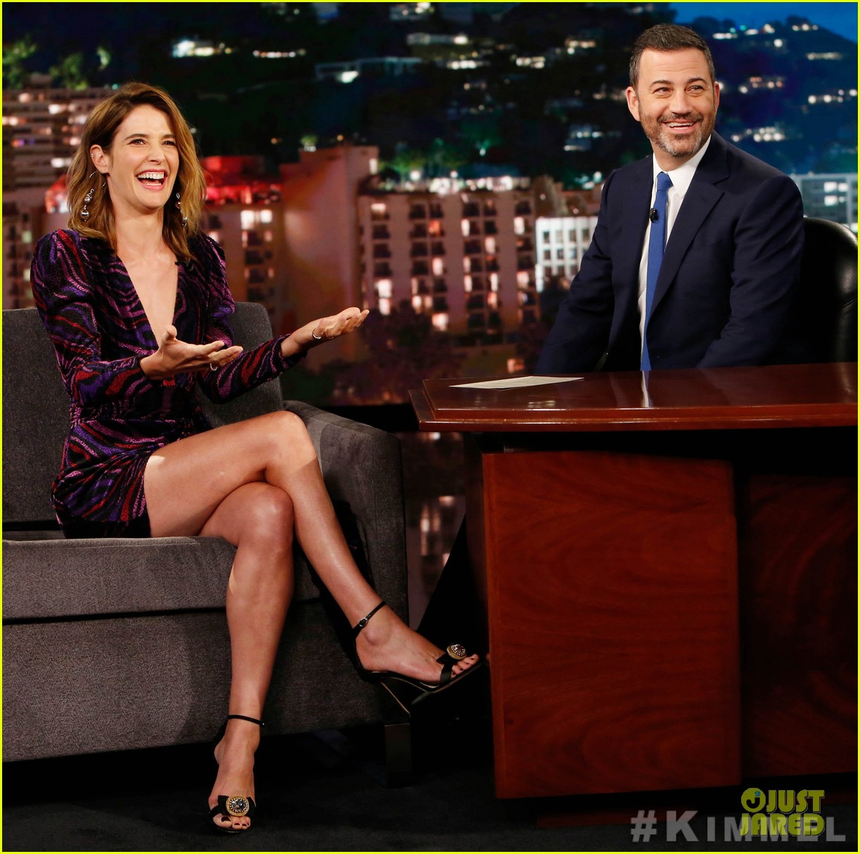 Cobie Smulders Tells Kimmel She Endures Football For Hubby Taran Killam Photo 4360868 Cobie Smulders Pictures Just Jared