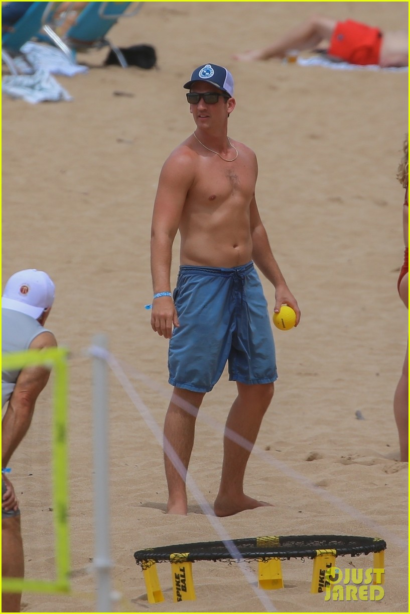 miles teller nina dobrev at the beach hawaii 234344079