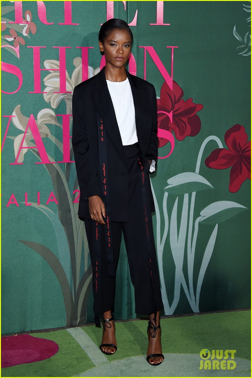 shailene woodley letitia wright go glam in black green carpet fashion awards 124358499