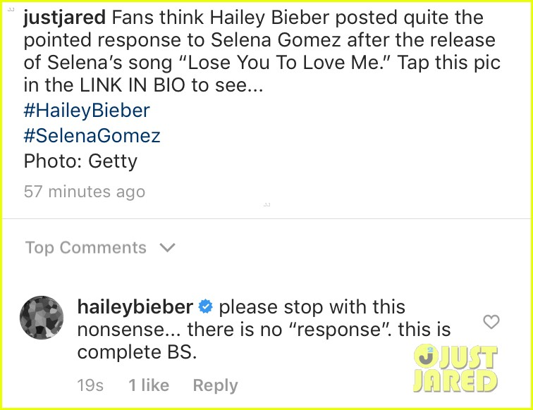 hailey bieber responds to selena gomez speculation 014375585