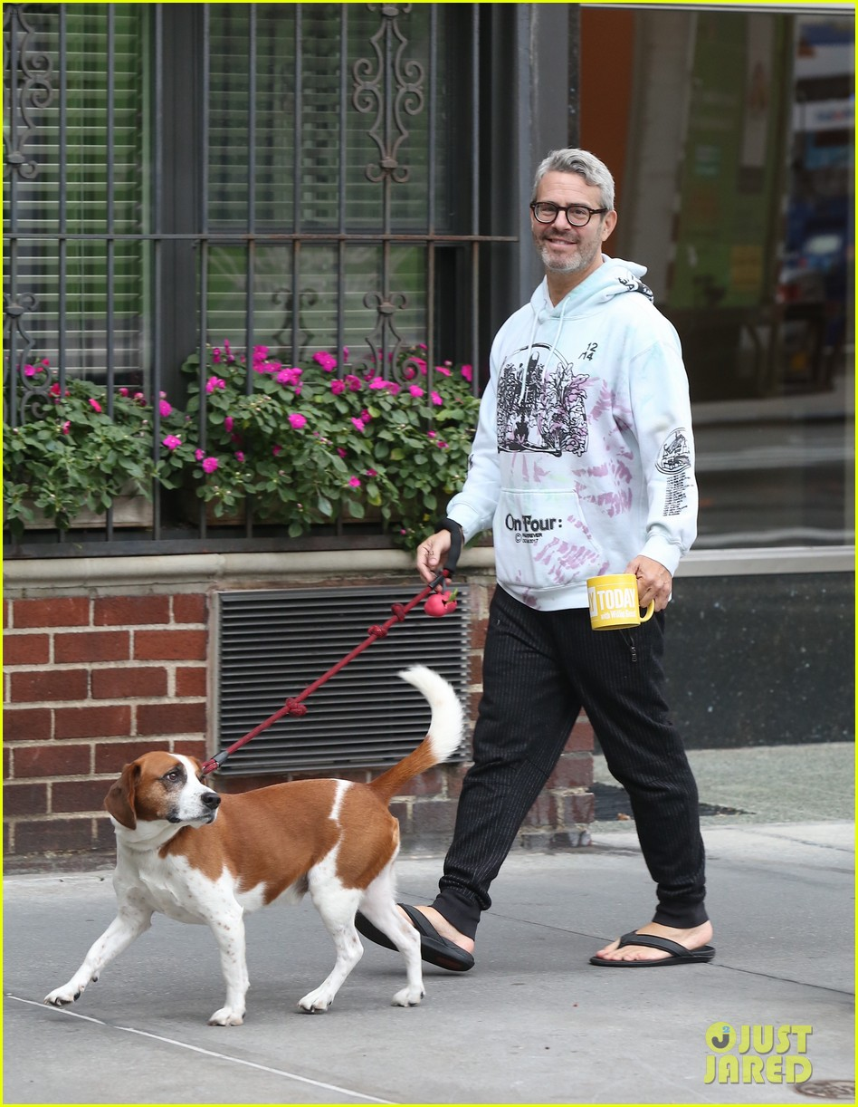 andy cohen is all smiles on morning walk dog wacha 034374455