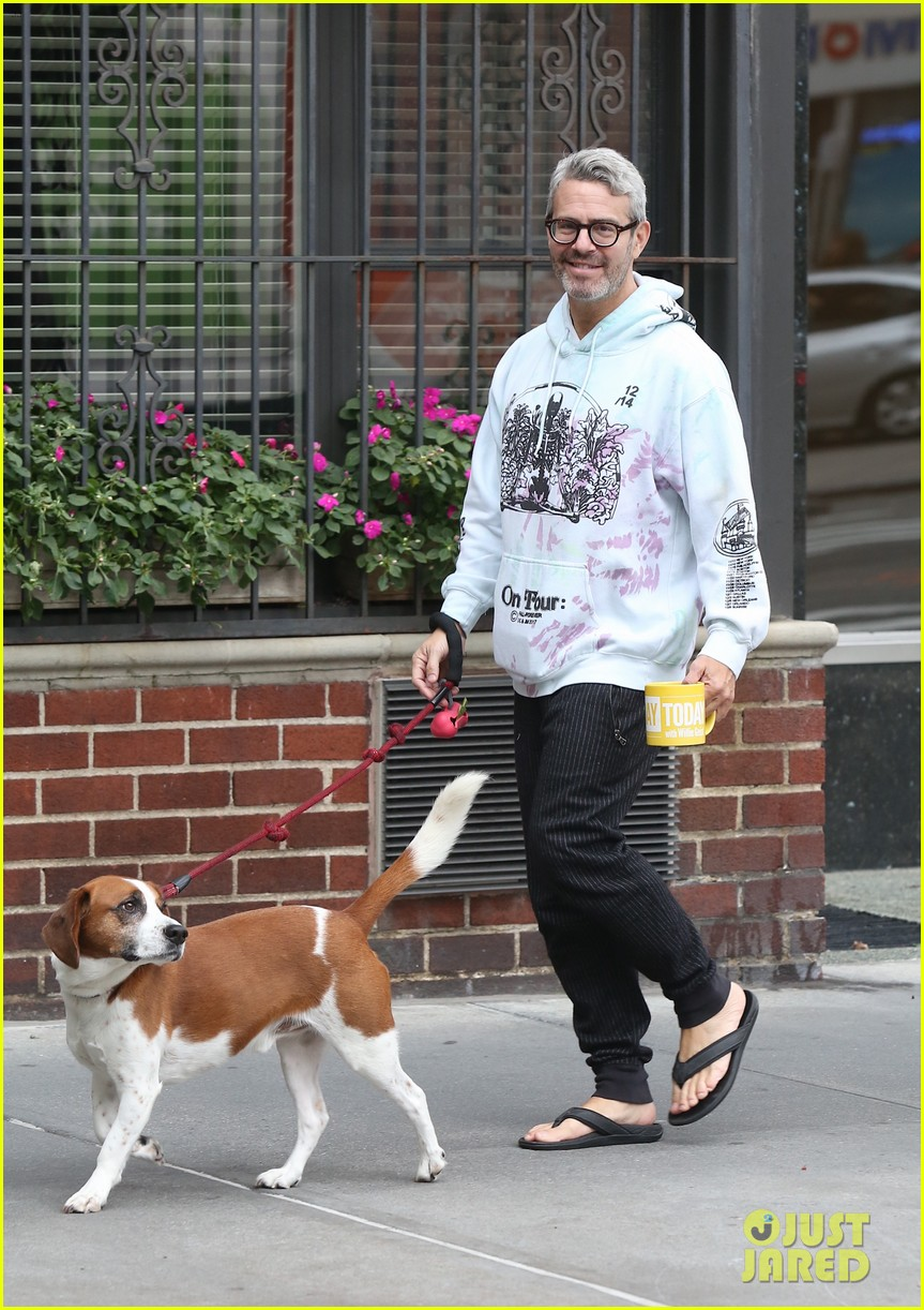 andy cohen is all smiles on morning walk dog wacha 054374457