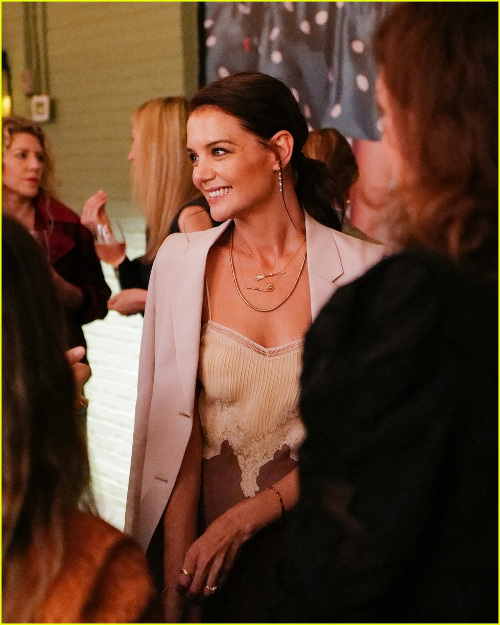 katie holmes has new york moment in slip dress and blazer 064365534