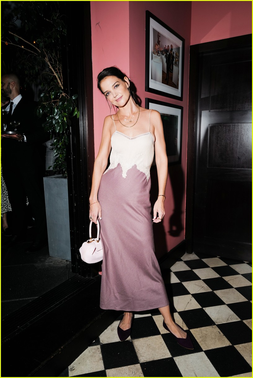 katie holmes has new york moment in slip dress and blazer 074365535