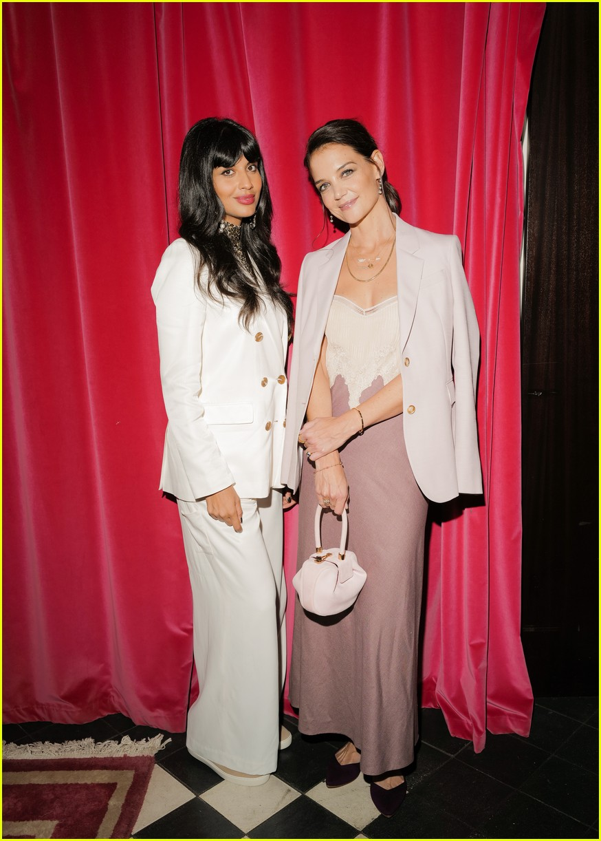 katie holmes has new york moment in slip dress and blazer 204365548