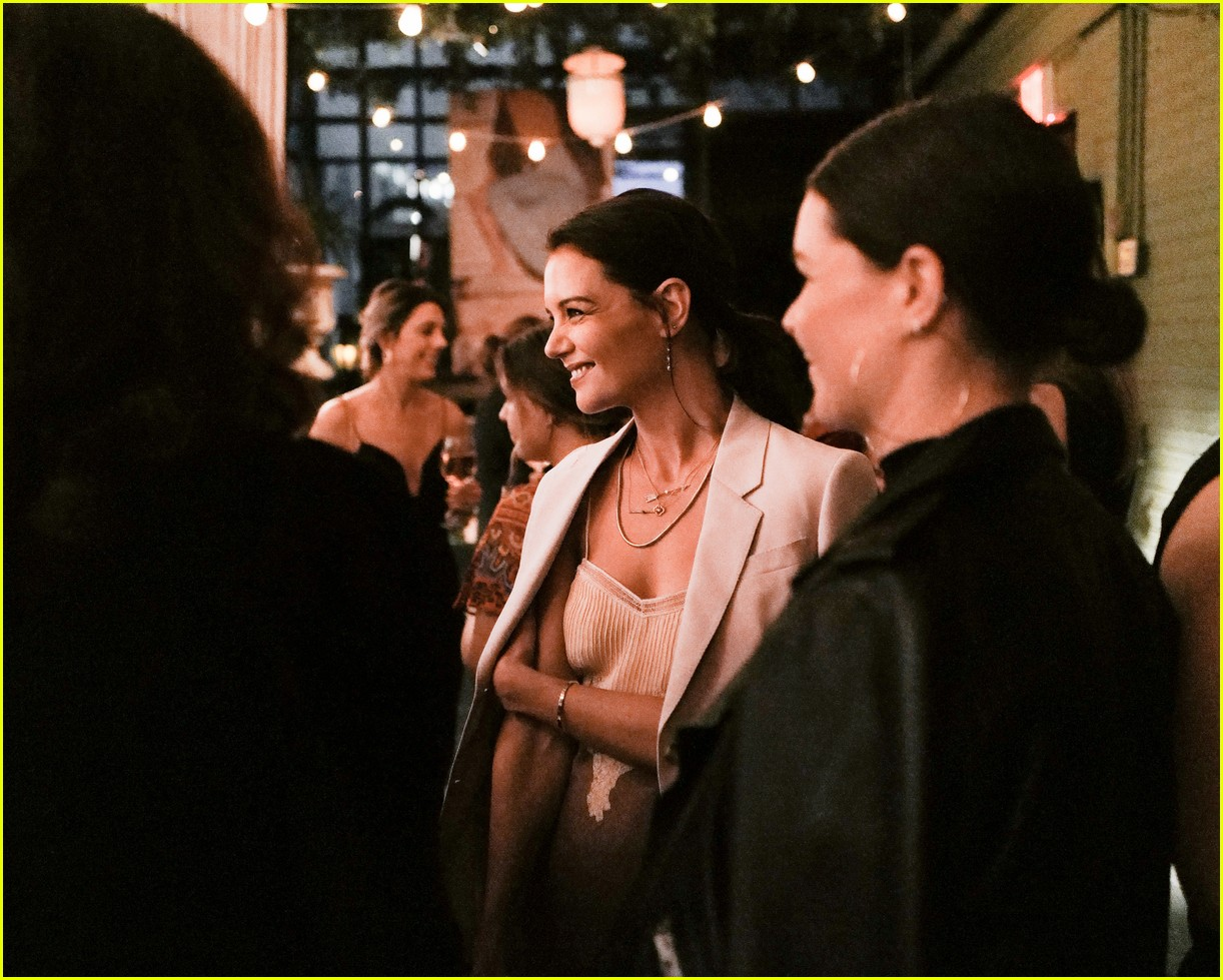 katie holmes has new york moment in slip dress and blazer 214365549