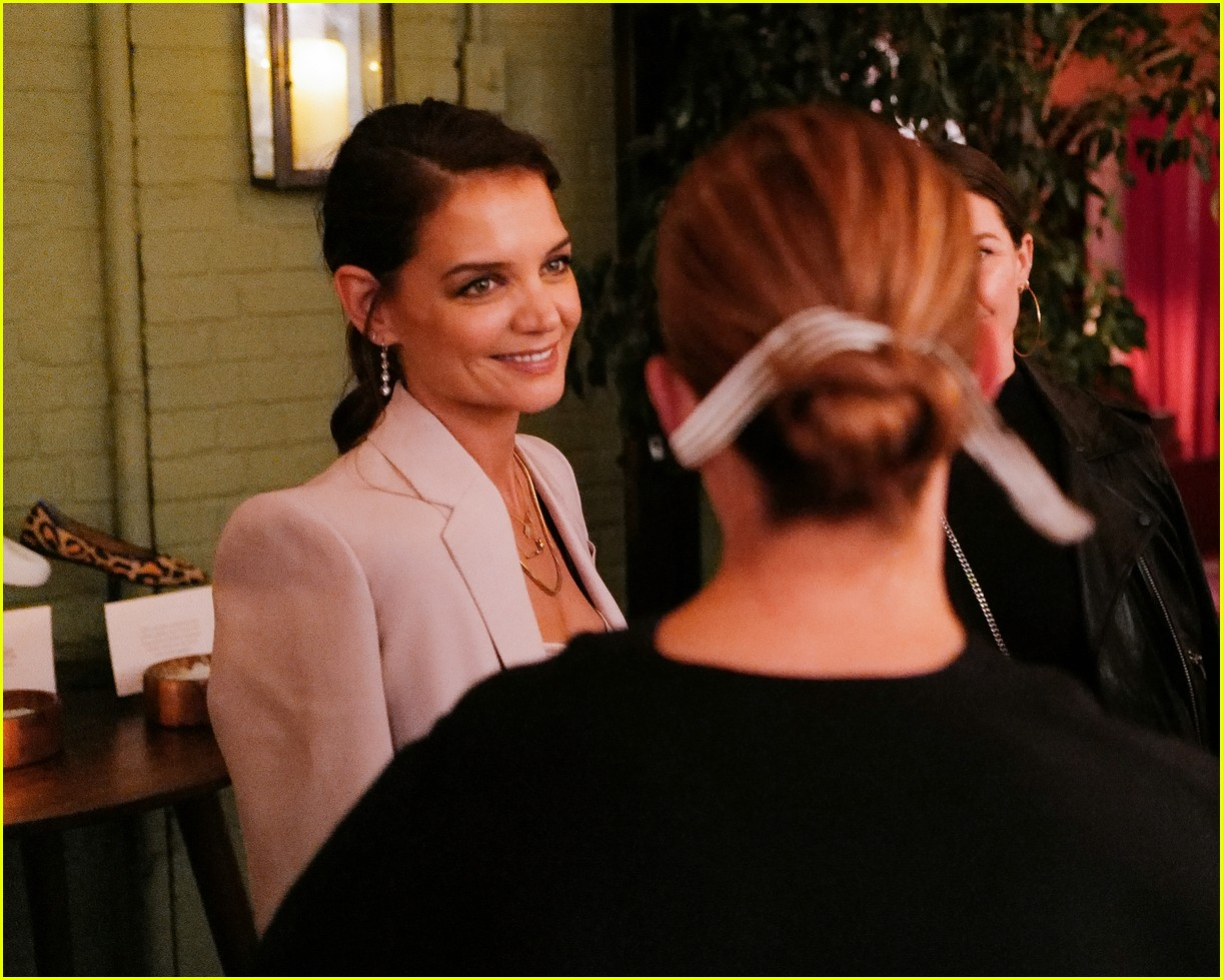 katie holmes has new york moment in slip dress and blazer 244365552
