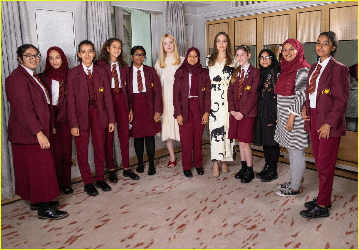 angelina jolie elle fanning visit london school girls international day of the girl 014369717