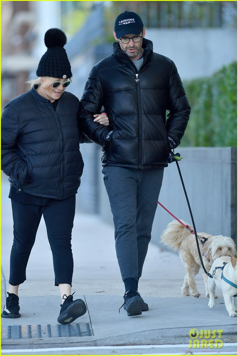 hugh jackman deborra lee furness matching outfits while walking dogs 034382402