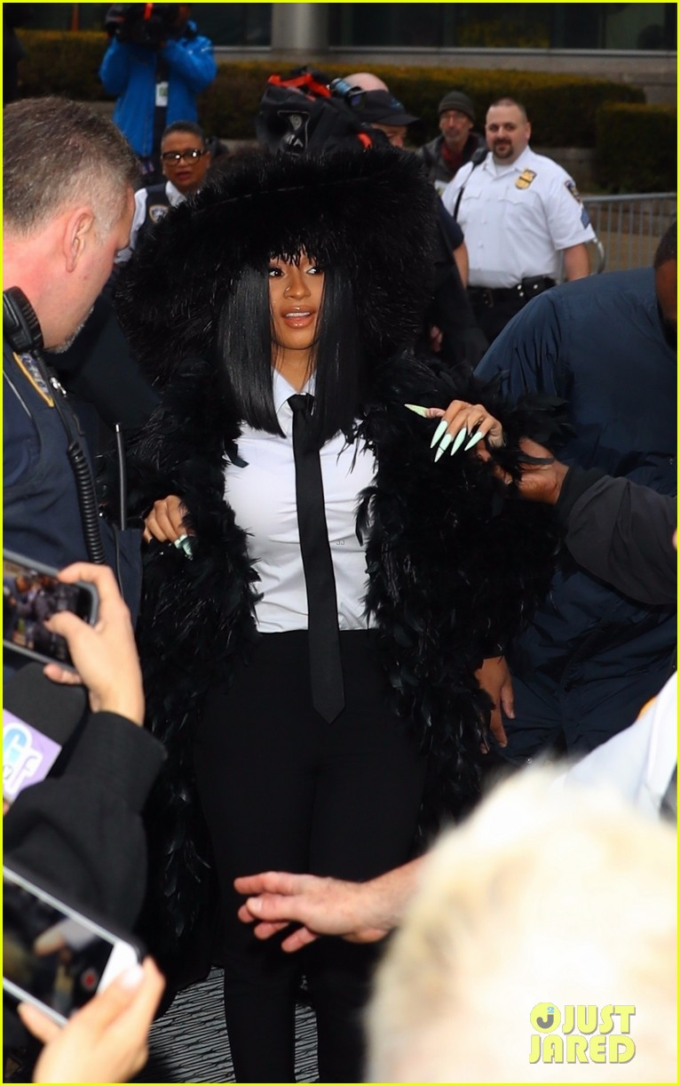 Cardi B Court: Cardi B Makes Huge Statement With Her Hooded Feathered
