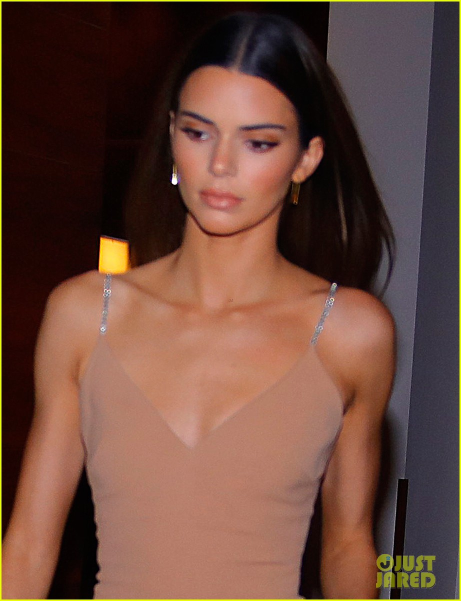 kenall jenner goes sultry flesh colored dress night out 024399753