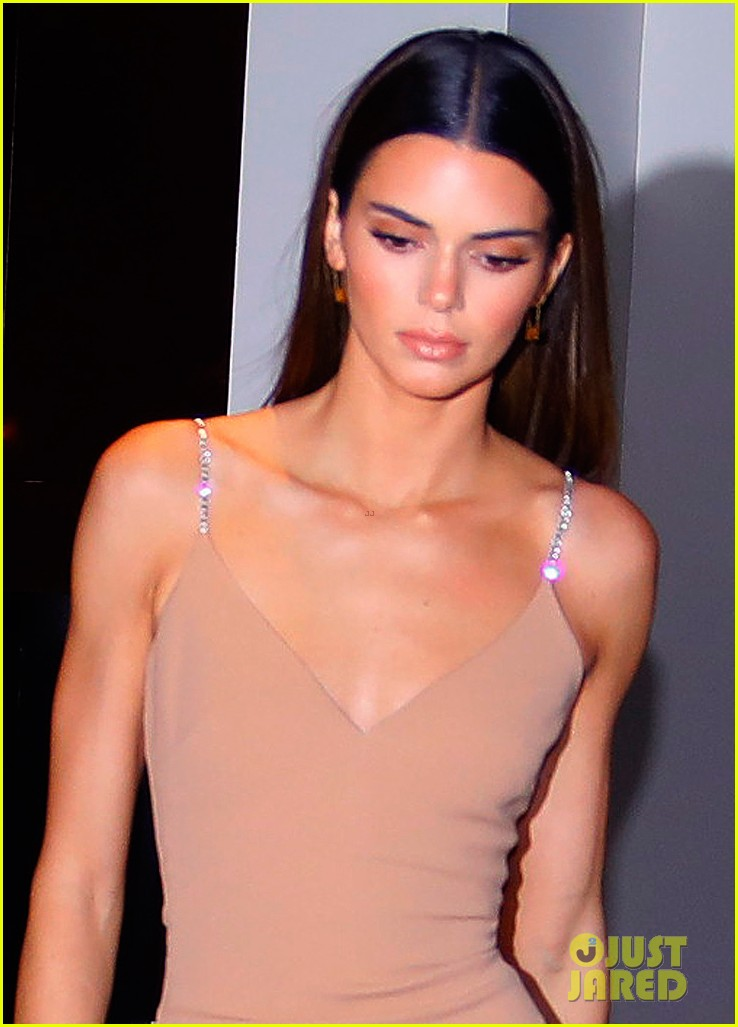 kenall jenner goes sultry flesh colored dress night out 044399755
