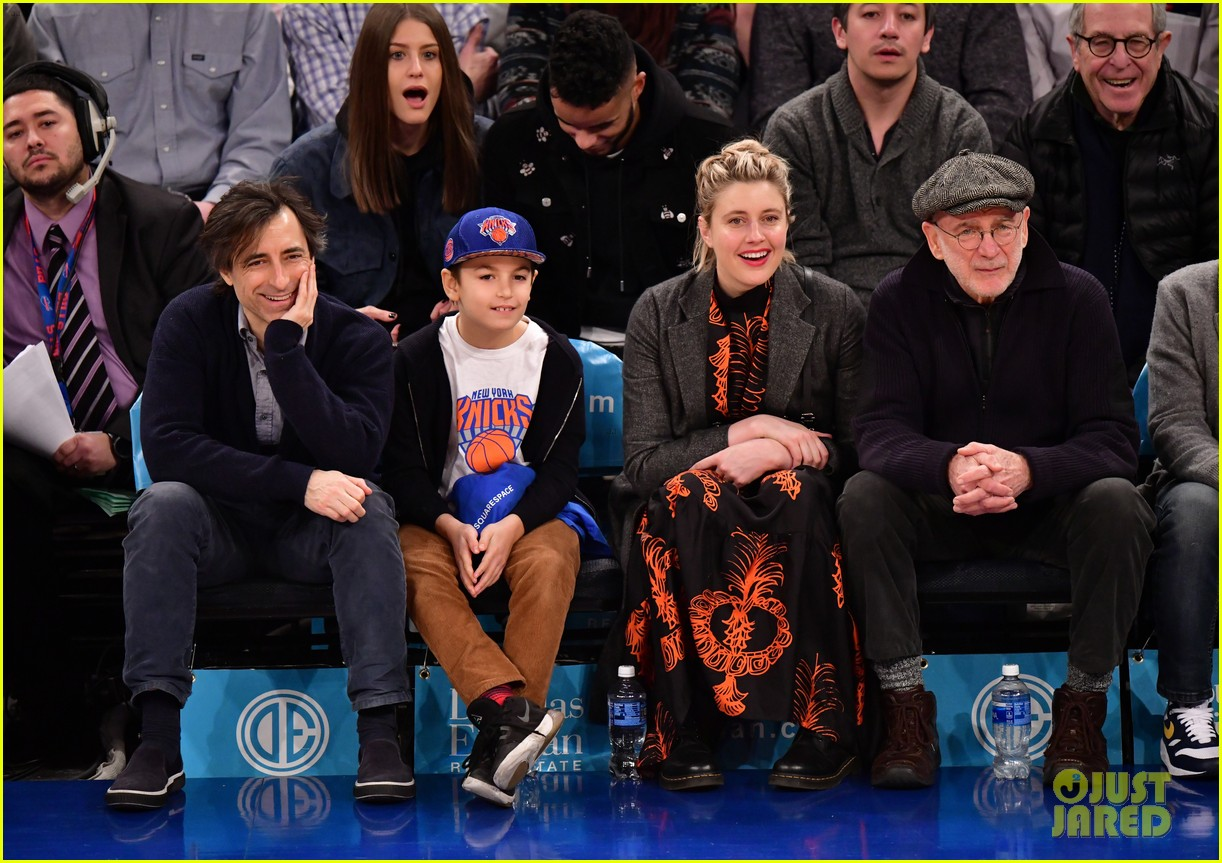 noah baumbach greta gerwig sit courtside for new years day game 024407907