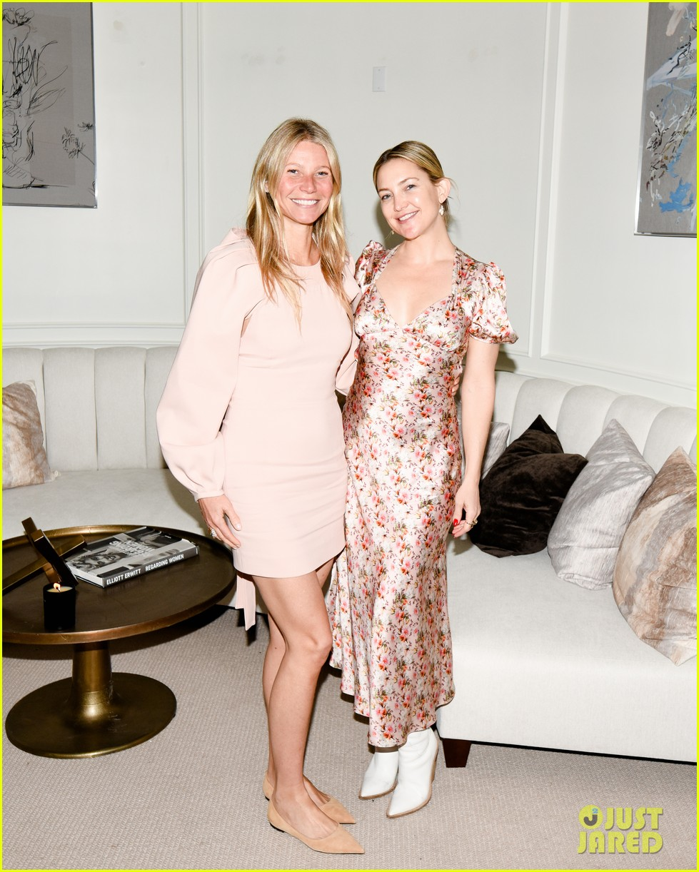 gwyneth paltrow hosts makeup free goop dinner party with kate hudson demi moore 264439742