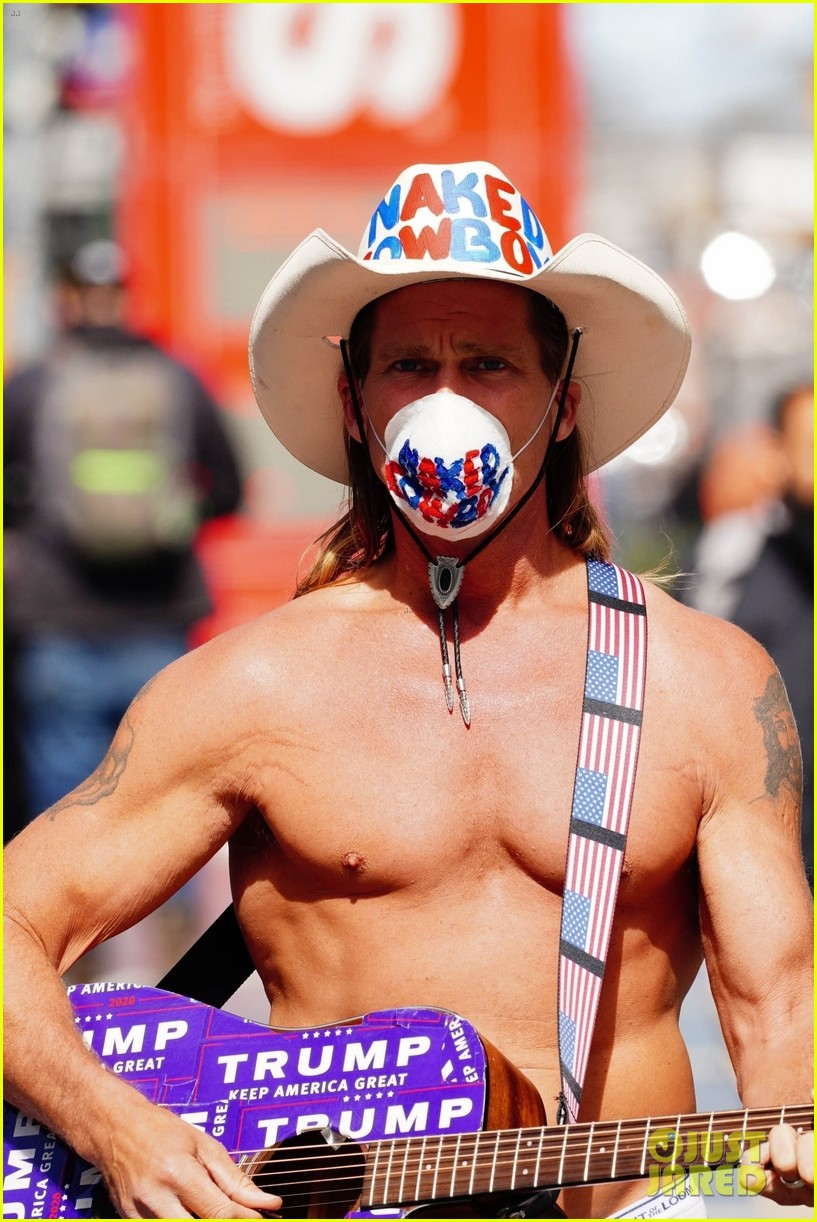 naked cowboy busking in a face mask 064451087