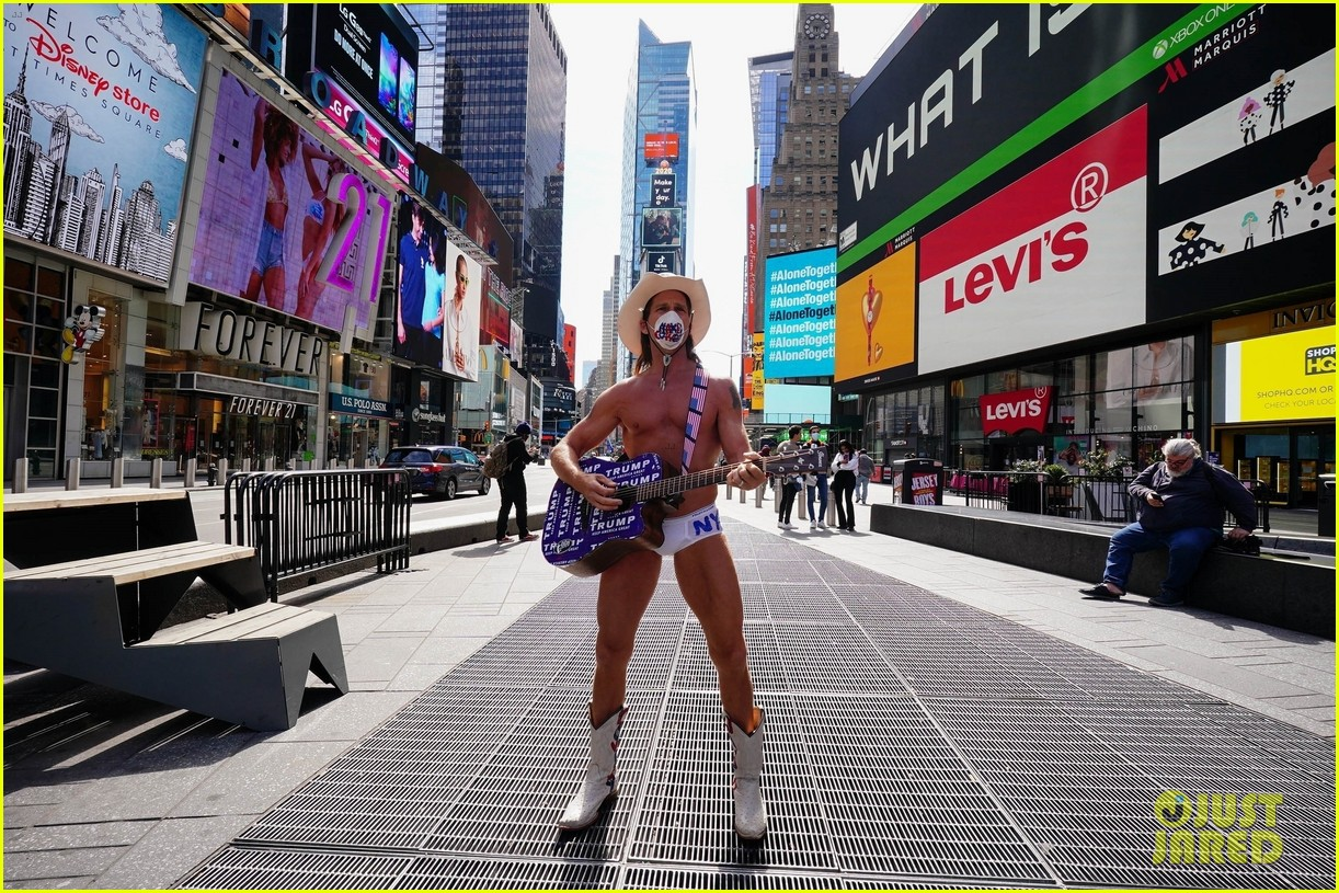naked cowboy busking in a face mask 074451088