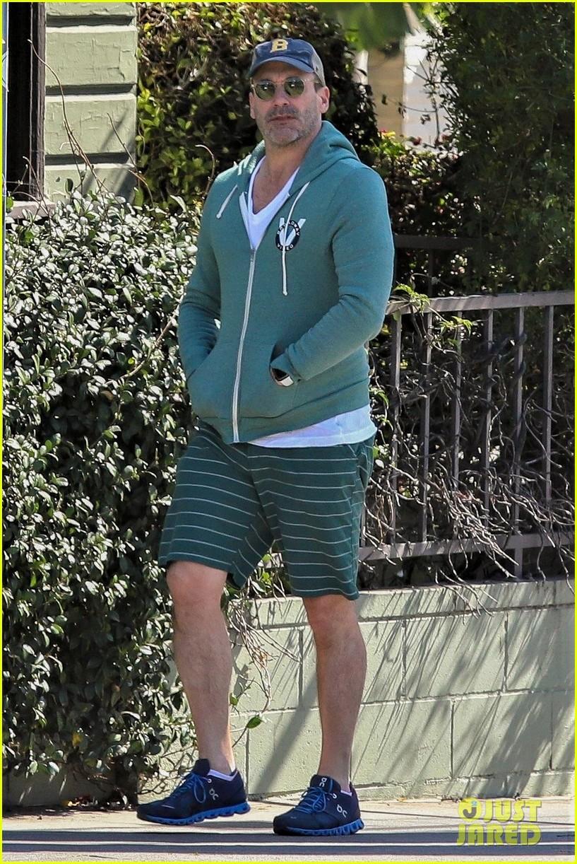 jon hamm green jacket shorts lunch los feliz 014445986