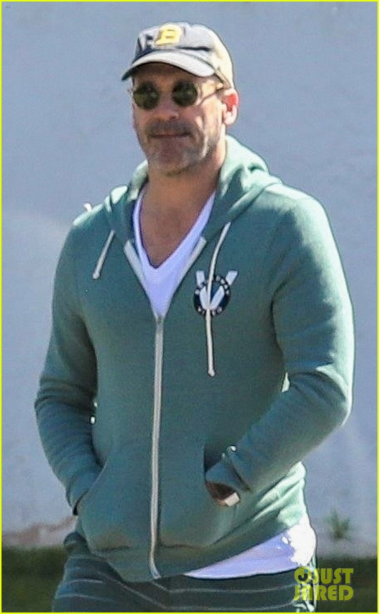 jon hamm green jacket shorts lunch los feliz 024445987