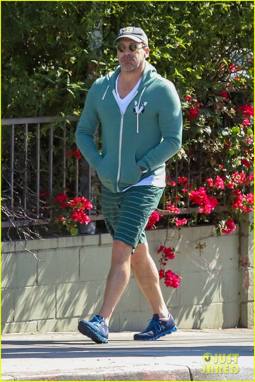 jon hamm green jacket shorts lunch los feliz 034445988