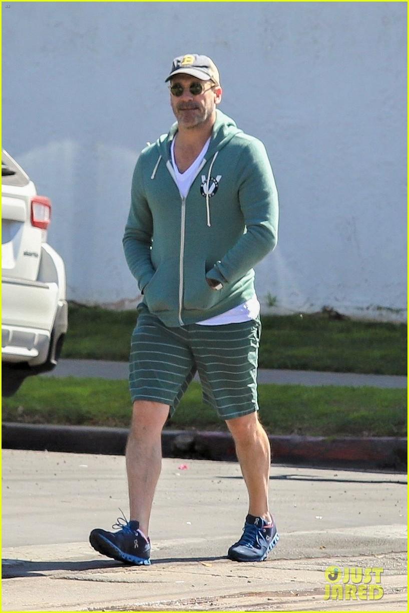 jon hamm green jacket shorts lunch los feliz 054445990