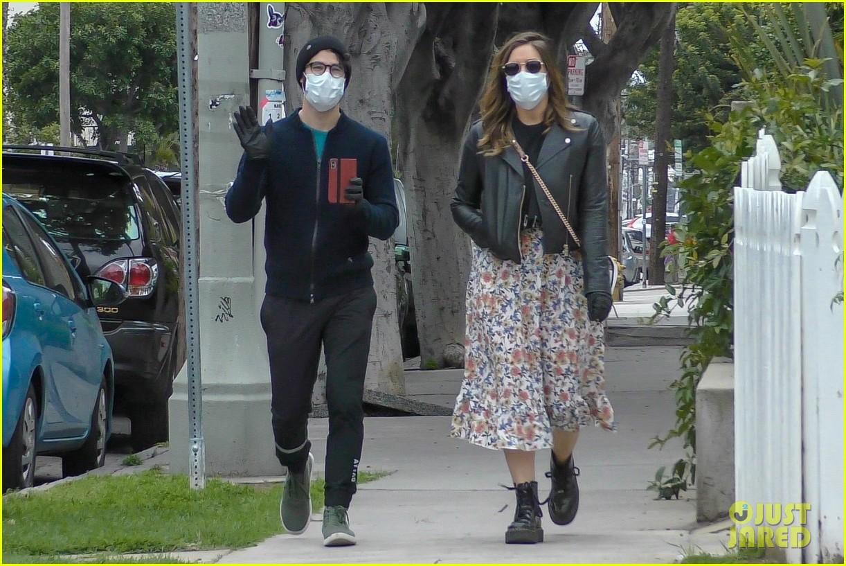 darren criss wife mia cover up for walk around their neighborhood 014454759