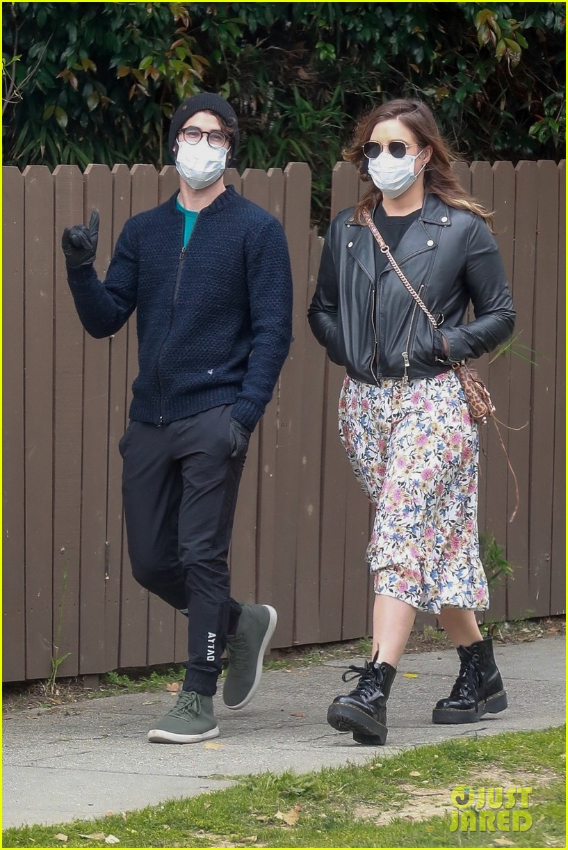 darren criss wife mia cover up for walk around their neighborhood 034454761