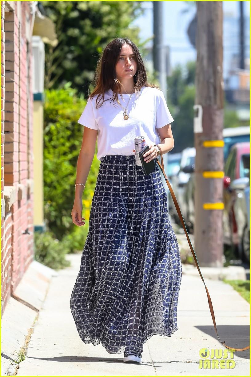 ana de armas printed skirt walk selfie 054458360