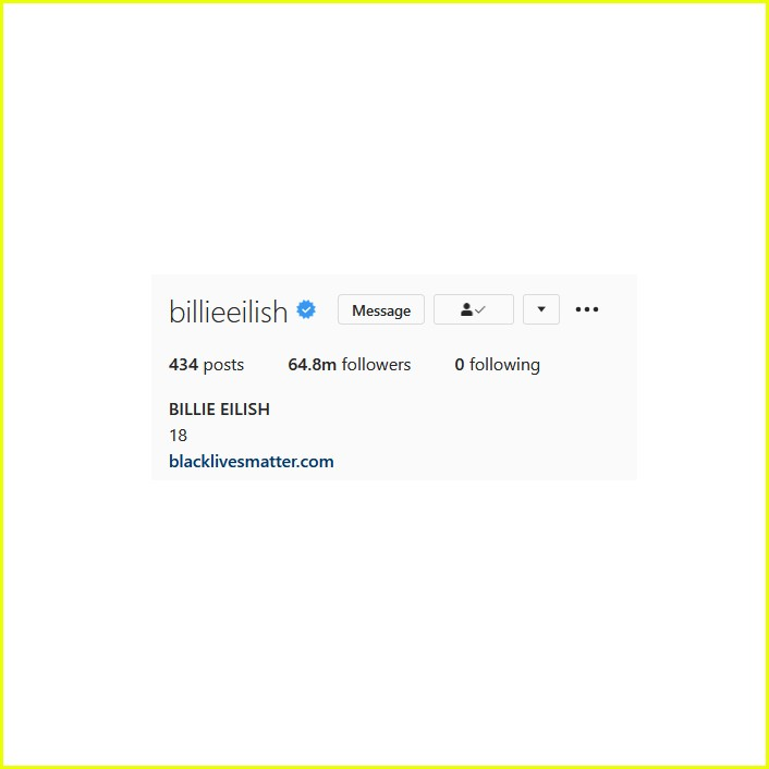 billie eilish unfollows everyone instagram 014465130